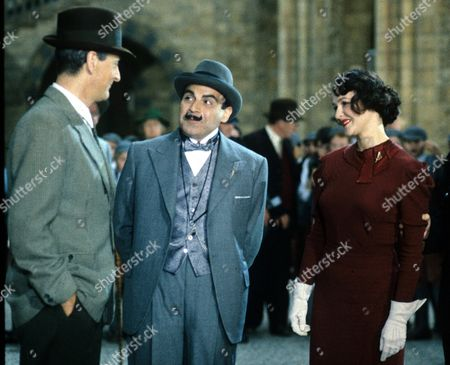 'Poirot'  - 'The Veiled Lady' -  Hugh Fraser as Captain Arthur Hastings and David Suchet as Hercule Poirot and Frances Barber as Lady Millicent Castle-Vaughan