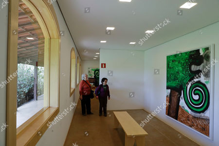 Visitors look at a paint by U.S. artist Carroll Dunham, displayed at the Inhotim Institute, in Brumadinho, Brazil, . The Inhotim Institute is a museological complex featuring a series of pavilions and galleries with works of art and sculptures continuously on display in the open air