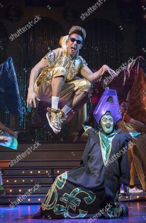 Karl Queensborough as Aladdin, Vikki Stone as Abanazer