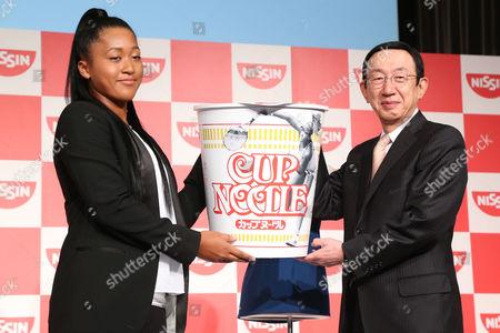 (L-R) Naomi Osaka, CEO Koki Ando