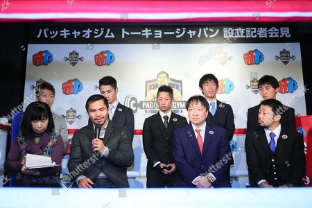 (U L to R) Naoya Inoue, Ryo Matsumoto, Takuma Inoue, Satoshi Shimizu, Keisuke Matsumoto, (D L to R) Manny Pacquiao, Hideyuki Ohashi, Akira Yaegashi