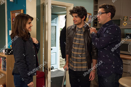 Stock Photo of Finn Barton, as played by Joe Gill, is horror-struck when Emma Barton, as played by Gillian Kearney, meets Kasim, as played by Ethan Kai, and says she wants to hear everything, fearing she'll reveal all. Will Finn manage to tell him himself before someone else lets it slip? (Episode 7688 - Wed 7 Dec 2016)