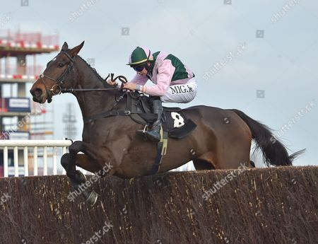 O Maonlai (Adrian Heskin) takes the last before going on to win The Sir Peter O?Sullevan Memorial Handicap Steeple Chase at Newbury racecourse on Saturday 26th November 2016.