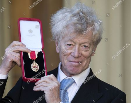 Stock Image of Professor Sir Roger Scruton after receiving a Knighthood at an Investiture at Buckingham Palace