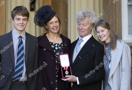 Professor Sir Roger Scruton with his wife Sophie and children Sam and Lucy