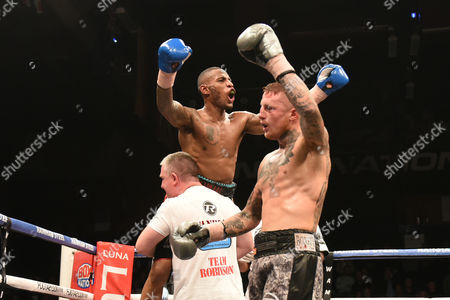 Lee Markham (grey/black shorts) defeats Andrew Robinson to win the English Middleweight Title during a Boxing Show at the Brentwood Centre on 25th November 2016