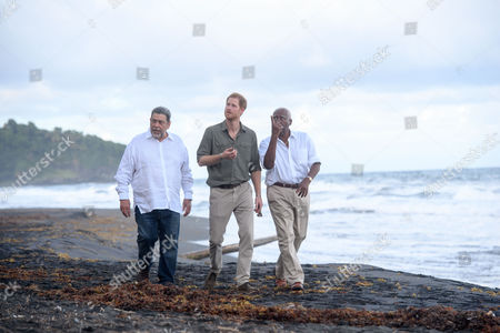 Prince Harry, Ralph Gonsalves PM and Frederick Ballantyne Governor-general