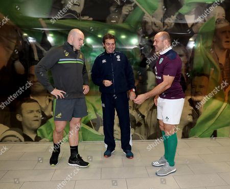 Ireland vs Australia . Australia's Stephen Moore and Rory Best of Ireland with referee Jerome Garces for the coin toss