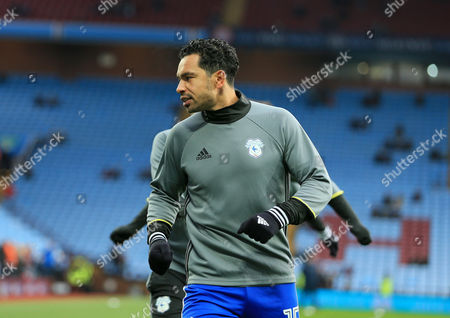 Kieran Richardson of Cardiff City warms up on his return to Villa Park.