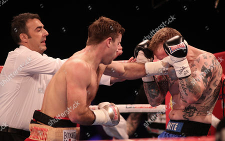 The Referee stops the fight between Danny Dignum and Jimmy White and declares Danny Dignum as winner in the Big City Dreams Boxing tournament at SSE Arena, Wembley, London on 26th November 2016