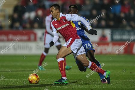 Peter Odemwingie (Rotherham United) runs with the ball during the EFL Sky Bet Championship match between Rotherham United and Leeds United at the New York Stadium, Rotherham