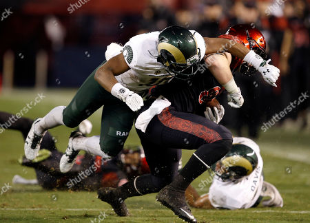 David Wells, Kevin Nutt Jr San Diego State tight end David Wells,right, gets hit by Colorado State defensive back Kevin Nutt Jr., left, during the first half of an NCAA football game in San Diego