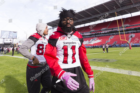 Calgary Stampeders defensive back Joshua Bell (11) during the walkthroughs for the 104th edition of the Grey Cup, the championship game between Calgary Stampeders and Ottawa Redblacks at BMO Field in Toronto, Ontario, Canada