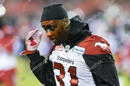 Stock Picture of Calgary Stampeders defensive back Jamar Wall (31) prior to the 104th edition of the Grey Cup, the championship game between Calgary Stampeders and Ottawa Redblacks at BMO Field in Toronto, Ontario, Canada. The score is 20-7 at halftime in favour of the Ottawa Redblacks