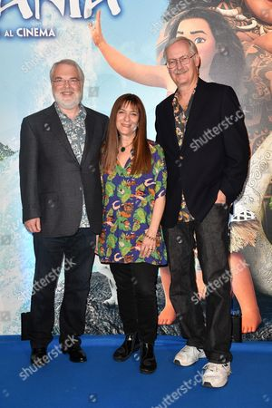 The director Ron Clements, the producer Osnat Shurer and the director John Musker
