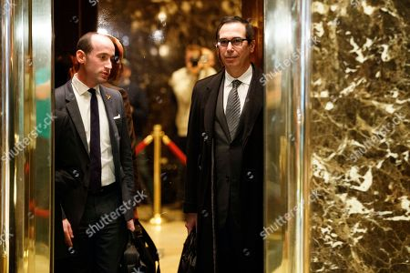 Stephen Miller, Steve Mnuchin Steve Mnuchin, a potential pick to serve as Treasury Secretary, right, and Stephen Miller, a policy adviser to President-elect Donald Trump get on an elevator at Trump Tower, in New York