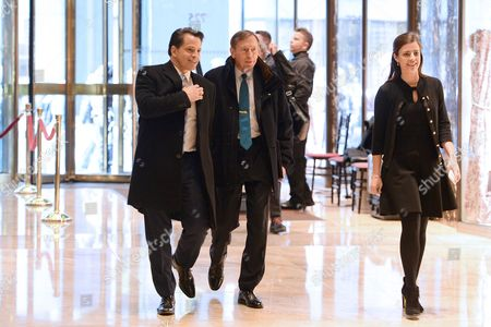 General David Petraeus (center), Former Director of the Central Intelligence Agency, is seen arriving in the lobby of the Trump Tower in New York, New York,.