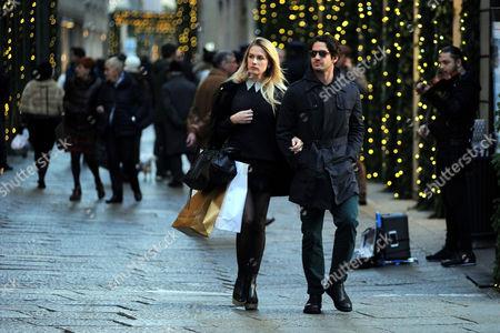 Stock Photo of Pato and girlfriend Fiorella Mattheis shopping