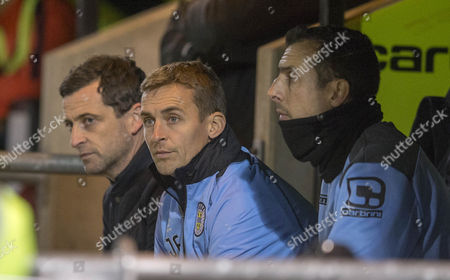 29/11/16... ST MIRREN V SPARTANS... WILLIAMHILL SCOTTISH CUP St Mirren manager Jack Ross with assistants James Fowler and Alan McManus