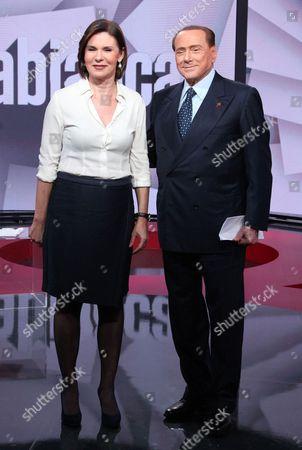 Bianca Berlinguer and Silvio Berlusconi