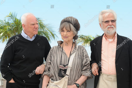 'Cinema Master Class' Photocall at Palais Des Festivals During the 64th Cannes Film Festival Malcolm Mcdowell with Stanley Kubrick's Widow Christiane Kubrick and Jan Harlan