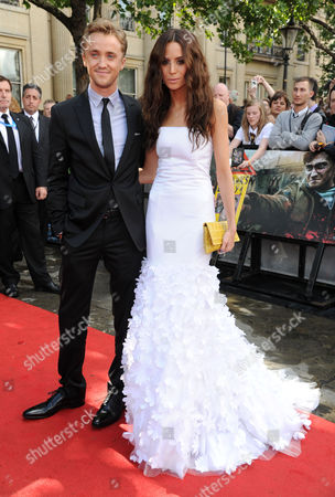'Harry Potter and the Deathly Hallows: Part 2' World Premiere at Trafalgar Square Tom Felton with His Girlfriend Jade Gordon