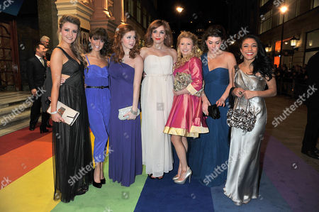 Stock Photo of 'The Wizard of Oz' Press Night Arrivals at the London Palladium Argyle Street Over the Rainbow Finalists (l-r) Emilie Fleming Lauren Samuels Sophie Evans Jessica Robinson Bronte Barbe Dani Rayner and Steph Fearon