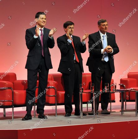 2010 Labour Conference at the Manchester Central Convention Complex - Monday David Miliband Douglas Alexander and Bob Ainsworth
