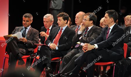 2010 Labour Conference at the Manchester Central Convention Complex - Monday Sadiq Khan Jack Straw Douglas Alexander Shaun Woodward Gareth Thomas and David Miliband