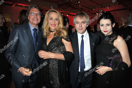 A Priceless Evening at Phillips De Pury & Company Howick Place Victoria London in Aid of the Journalism Foundation Jerry Hall with Her Boyfriend Warwick Hemsley with Nick Rhodes and