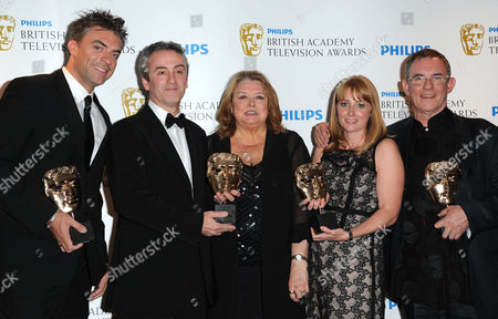 Bafta Television Awards Press Room at the Grosvenor House Hotel Single Drama - 'The Road to Coronation Street' - Daran Little Kieran Roberts Linda Barratt Rebecca Hodgson and Charles Sturridge