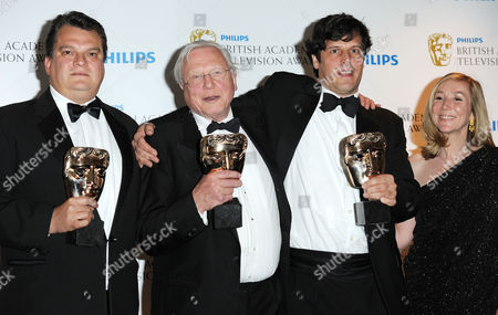 Bafta Television Awards Press Room at the Grosvenor House Hotel Specialist Factual - 'Flying Monsters 3d' - Sias Wilson David Attenborough Anthony Geffen and Celia Taylor