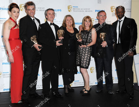 Bafta Television Awards Press Room at the Grosvenor House Hotel Single Drama - 'The Road to Coronation Street' - Daran Little Kieran Roberts Linda Barratt Rebecca Hodgson and Charles Sturridge Presented by Olivia Williams and Adrian Lester