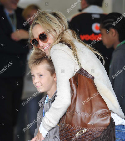 Stock Picture of British F1 Grand Prix Race Day at Silverstone Race Track Kate Hudson with Her Son Ryder Russell Robinson