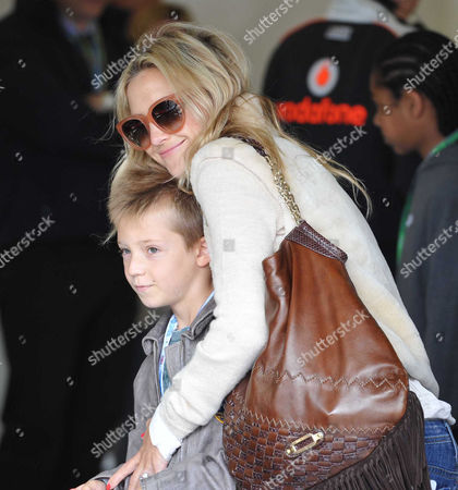 Stock Image of British F1 Grand Prix Race Day at Silverstone Race Track Kate Hudson with Her Son Ryder Russell Robinson