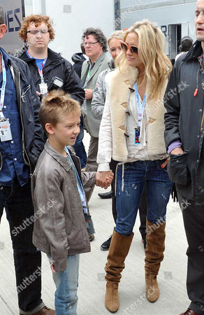 British F1 Grand Prix Race Day at Silverstone Race Track Kate Hudson with Her Son Ryder Russell Robinson