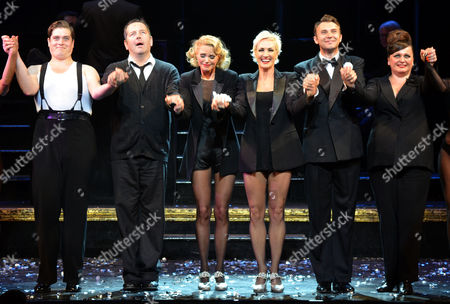 Christie Brinkley's Final Performance As Roxie Hart in the London Production of Chicago at the Cambridge Theatre 7 Dials Convent Garden London David Page Christie Brinkley & Amra-faye Wright Jonathan Wlikes & Jasna Ivir
