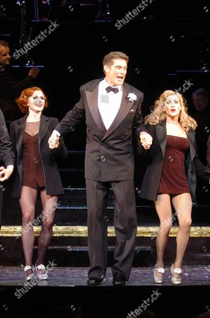 David Hasslehoff in 'Chicago' Curtain Calls and Dressing Room Pixs of David Hasslehoff On His 1st Appearance As Lawer Billy Flynn in the Westend Show Chicago at the Adelphi Theatre David is Seen with at the Curtain Call with Rebecca Thornhill (r) Who Plays Roxie Hart and Anita Louise Combe(l) Who Plays the Part of Velma Kelly