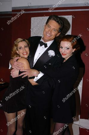 David Hasslehoff in 'Chicago' Curtain Calls and Dressing Room Pixs of David Hasslehoff On His 1st Appearance As Lawer Billy Flynn in the Westend Show Chicago at the Adelphi Theatre David is Seen After the Show with Rebecca Thornhill Who Plays Roxie Hart and Anita Louise Combe (l) Who Plays the Part of Velma Kelly