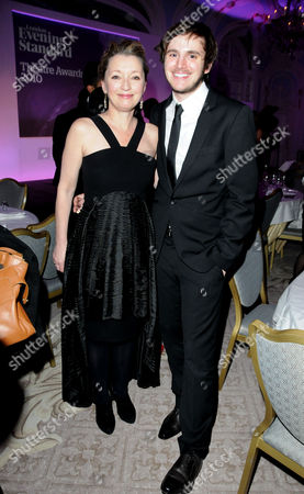 Stock Picture of Evening Standard Theatre Awards 2010 at the Savoy Hotel Lesley Manville and Michael Goldsmith