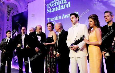 Evening Standard Theatre Awards 2010 at the Savoy Hotel Winners: Rory Kinnear (best Actor) Sir Michael Gambon (special Award) Sir Peter Hall (contribution Award) and Nancy Carroll (best Actress) Howard Davies (best Director) Anya Reiss (most Promising Playwright)