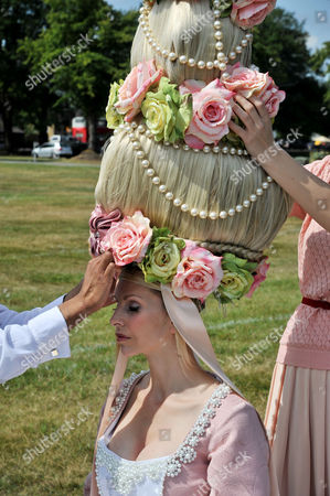 First Day of Royal Ascot Races at Ascot Racecourse Anneka Tanaka-svenska is Prepared For Wearing an Elaborate Louis Mariette Head-piece