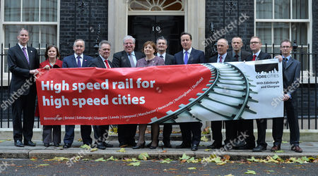 High Speed Rail For High Speed Cities Photocall Outside Number 10 Downing Street - A Declaration of Support For Hs2 From Leaders and Representatives of the Uk's Ten Largest Cities Outside of London Ged Fitzgerald (liverpool) Julie Dore (sheffield) Gordon Matheson(glasgow) Sir Albert Bore (birmingham) Patrick Mcloughlin Mp Helen Holland (bristol) James Lewis (leeds) David Cameron Sir Richard Leese (manchester) Jon Collins (nottingham) Nick Forbes (newcastle)