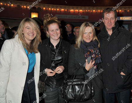 Jersey Boys Christmas Show at the Prince Edward Theatre Old Compton Street Alastair Campbell with His Partner Fiona Millar and Daughter Gracie Campbell and (far Left) Georgia Gould