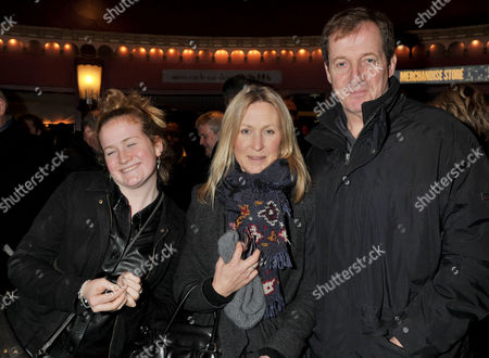 Jersey Boys Christmas Show at the Prince Edward Theatre Old Compton Street Alastair Campbell with His Partner Fiona Millar and Daughter Gracie Campbell