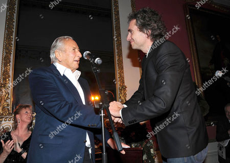 Literary Review Bad Sex in Fiction Award 2010 at the in & out Club Mayfair Michael Winner Presents Winner Rowan Somerville His Award For the Book 'The Shape of Her'