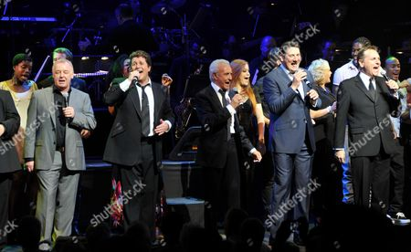Michael Ball and Friends Concert in Aid of the Shooting Star Children's Hospice at the Prince of Wales Theatre Coventry Street London Les Dennis Michael Ball Tony Christie Tony Hadley & Brian Conley with the Cast From Hairspsay