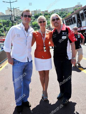 Monaco F1 Grand Prix Race Day Monte Carlo Sir Richard Branson with His Daughter Holly Branson and Her Boyfriend Fred Andrews