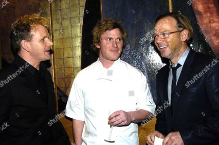 Stock Photo of Opening Party For Gordon Ramsay's New Restaurant and Bar Pengelley's Sloane Street Gordon Ramsay with Chef Ian Pengelley and David Collins