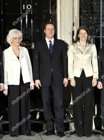 Photocall at Number 10 Downing Street to Mark the Start of the Nordic Baltic Summit Starting On the 20th January 2011 Johanna Sigurdardottir (prime Minister of Iceland) with David Cameron and Finland's Mari Kiviniemi (prime Minister of Denmark)